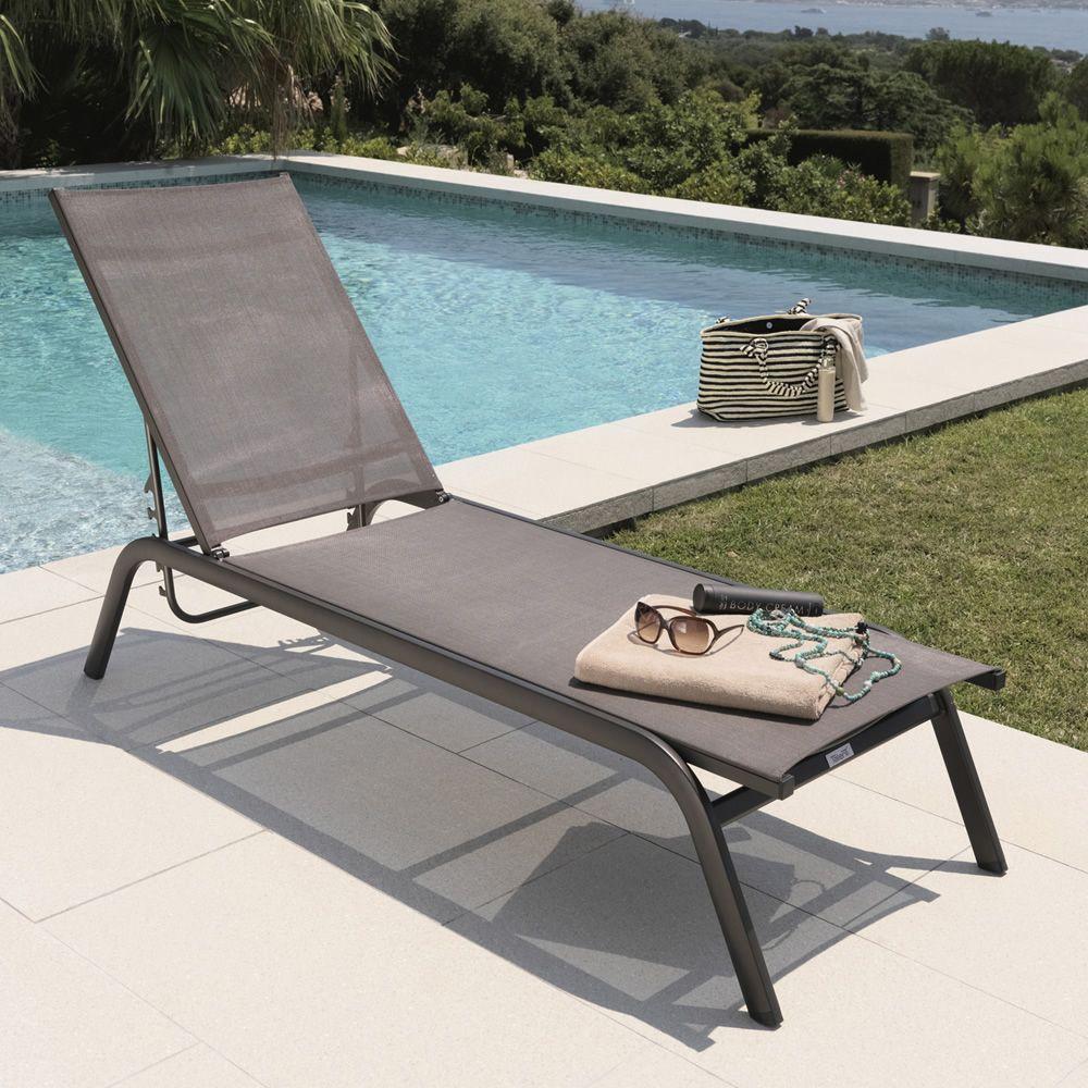Step L Sun Lounger In Aluminium And Textilene Adjustable