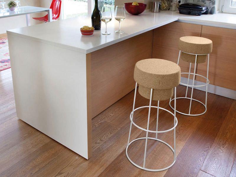 bouchon tabouret domitalia en m tal et assise en li ge. Black Bedroom Furniture Sets. Home Design Ideas