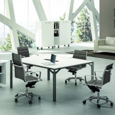 Office X8 Meet - Boardroom table or large office desk, in metal and laminate, available in different dimensions and finishes