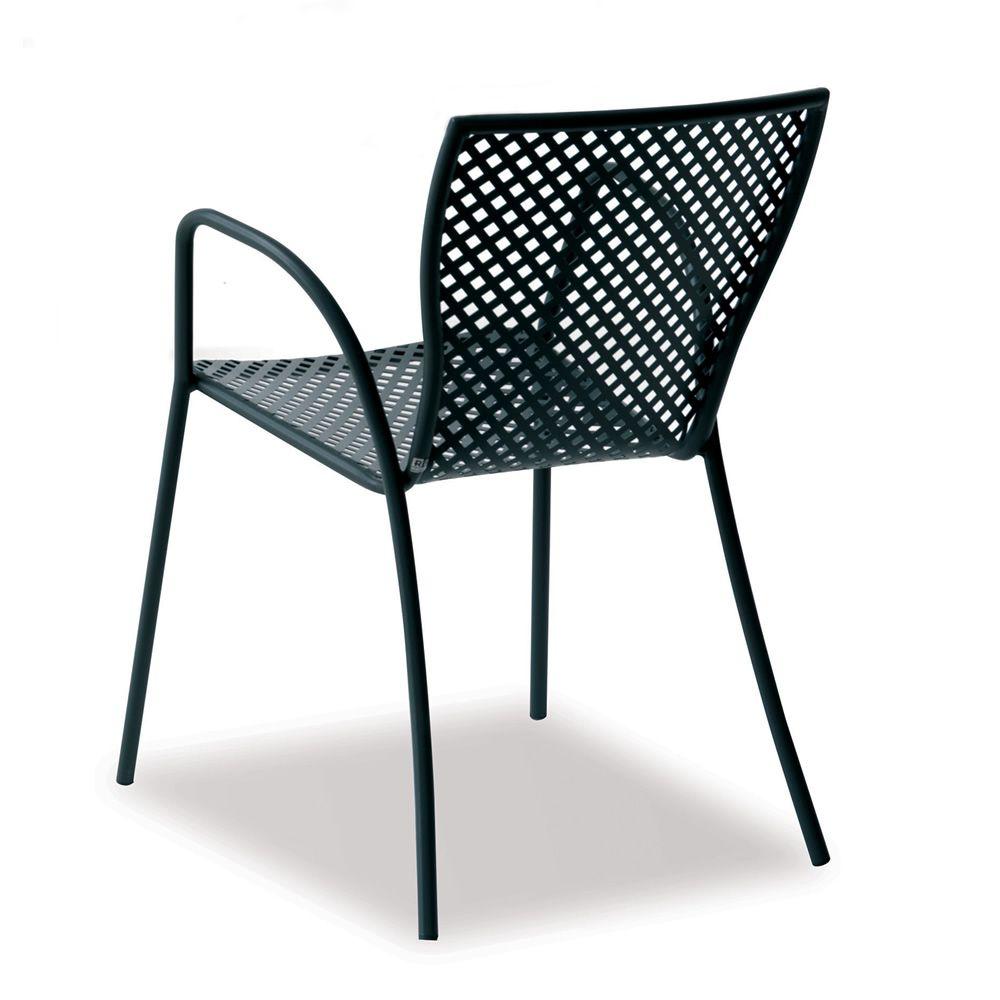 rig21p stapelstuhl aus metall mit armlehnen f r den garten sediarreda. Black Bedroom Furniture Sets. Home Design Ideas