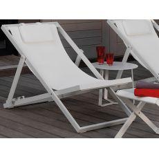 Touch - Liegestuhl aus Aluminium und Textilen, mit verstellbarer Rückenlehne und gepolsterter Kopfstütze