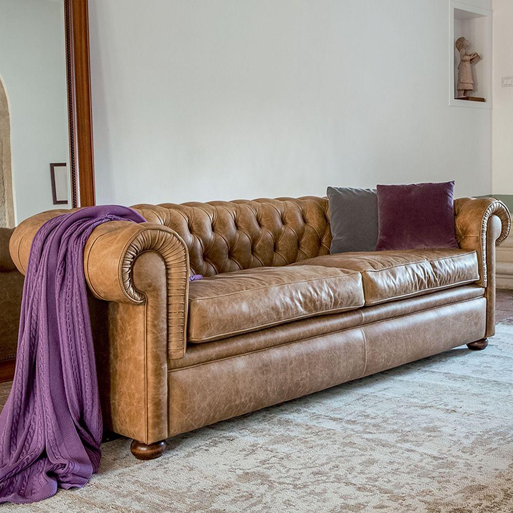 Messier l 4383 divano classico a 3 posti tonin casa rivestito in similpelle pelle o pelle - Divano classico in pelle ...
