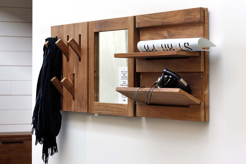 Utilitle h appendiabiti da parete ethnicraft in legno - Appendiabiti da parete con specchio ...