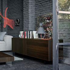 Fashion - Madia Dall'Agnese in metallo e impiallacciato, diversi colori disponibili, due ante, un cassetto e un cestone