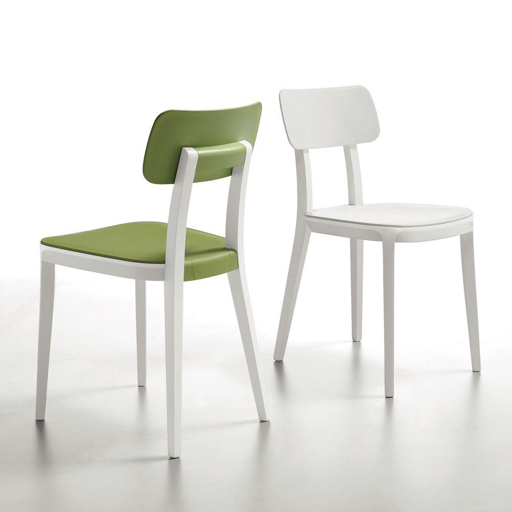 Porta venezia sedia infiniti in legno con seduta in for Sedie in similpelle
