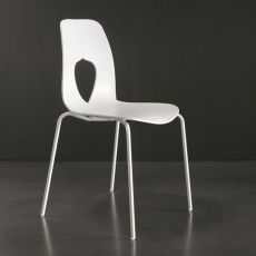 7207 Hole - Tonin Casa design chair, metal and polypropylene of several colour, stacking