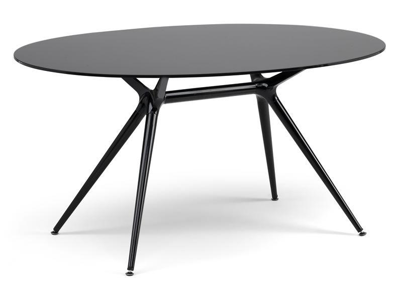 Metropolis 2402 tavolo in metallo con piano in vetro - Tavolo di vetro ovale ...
