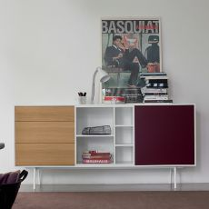 Code-3 - Dall'Agnese sideboard made of metal and veneered wood, different colours available, three drawers, one door and an open compartment
