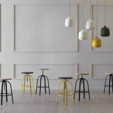 Ferrovitos - Miniforms stool in metal and wood, adjustable in height