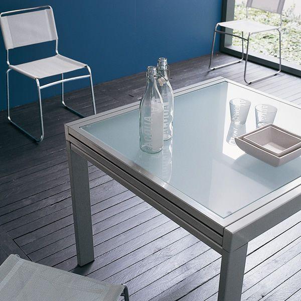 Vr90 table rallonge en m tal avec plateau en verre 90 x - Table en verre carree avec rallonge ...