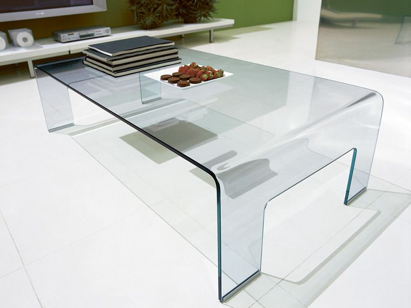 CB507-R Real - Tavolino Connubia - Calligaris in vetro curvato ...