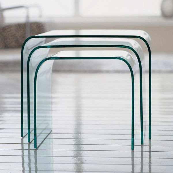 Anemone 6846 tris di tavolini tonin casa in vetro - Tris di tavolini ...