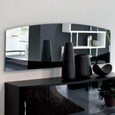 Isola 7509 - Tonin Casa elliptical mirror with frame in black varnished glass