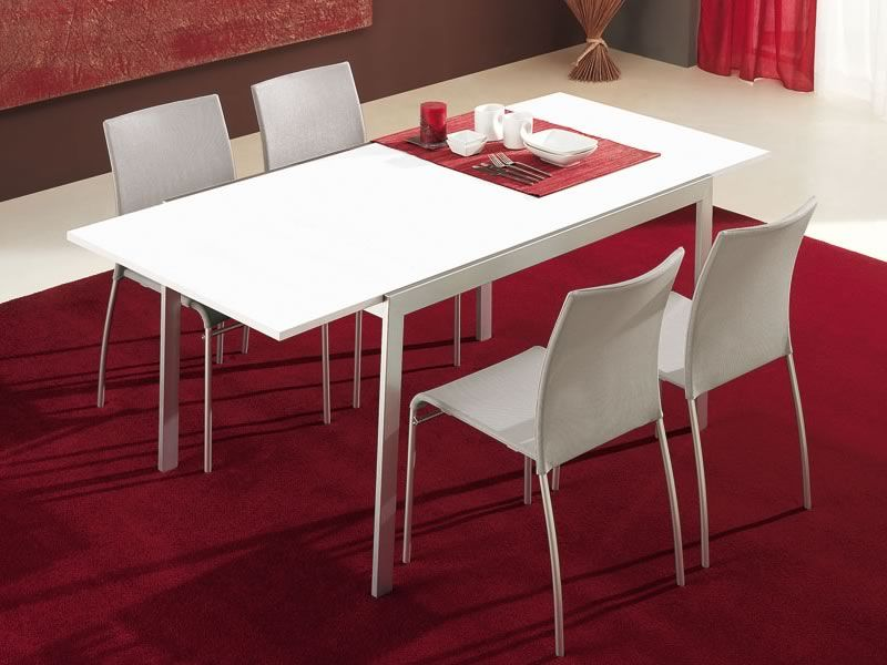 Cb4742 l 120 aladino mesa connubia calligaris de metal for Mesa 80x80 extensible a 120