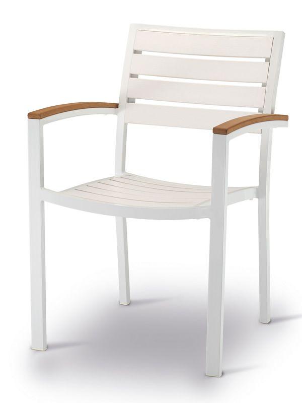 Tt937 sedia con braccioli in alluminio e techno wood for Sedie in alluminio