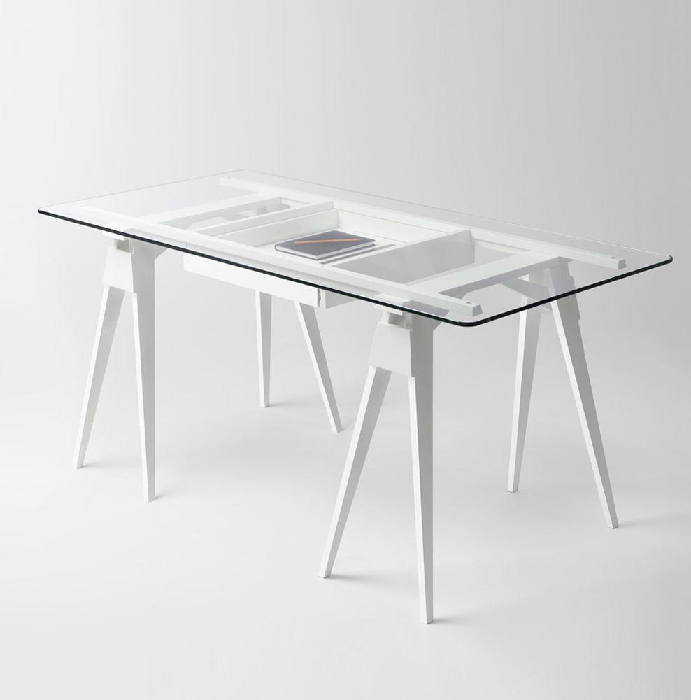 arco bureau en bois plateau en verre 150 x 75 cm avec. Black Bedroom Furniture Sets. Home Design Ideas