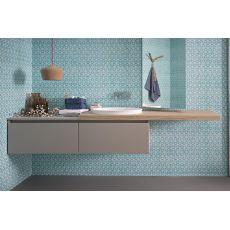 45 B - Mueble de baño suspendido, con lavabo y 2 cajones, disponible en varios colores
