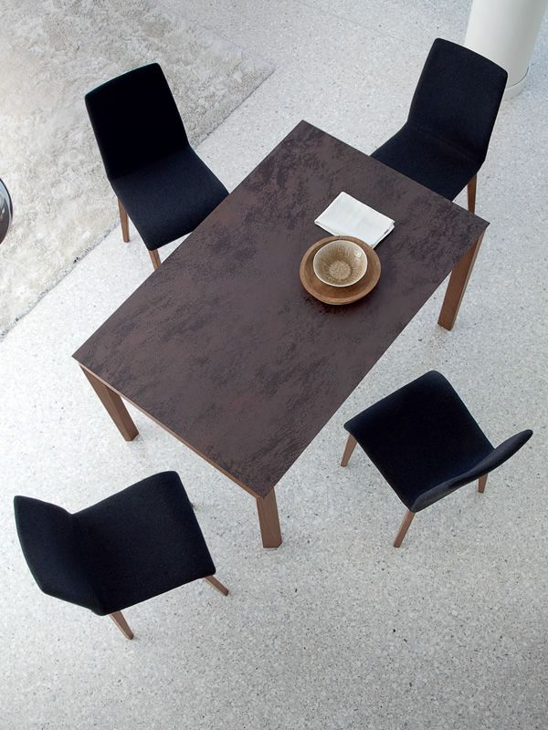 Hetre Bois Traduction : -130 W: Table Domitalia en bois, plateau en verre, c?ramique ou bois