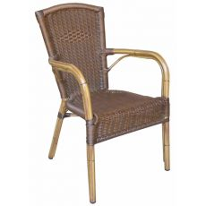 A59 - Outdoor armchair, stackable, made of aluminium and imitation rattan