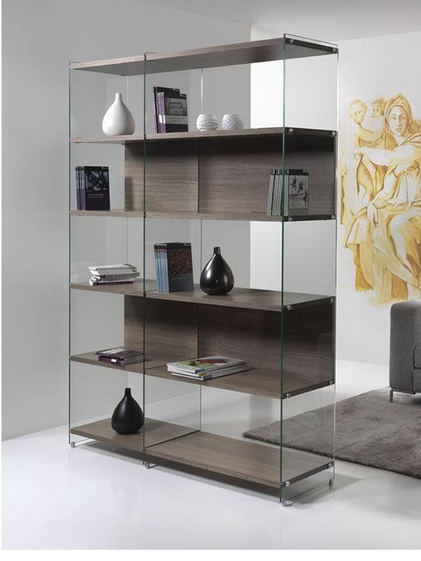 Byblos libreria in vetro trasparente con ripiani for Libreria acciaio e vetro