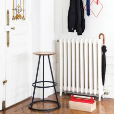 Grand Gustave - Design stool in metal and wood, available in different heights