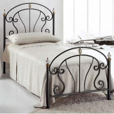 Bolero S - Letto singolo in ferro battuto con fregi in ottone brunito e ceramica