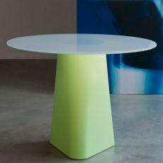 Adam 100 - Tavolo di design B-Line, anche per esterno, in polietilene, con piano rotondo in vetro, disponibile in diversi colori