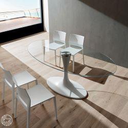 Pa133v mesa de m rmol sint tico con tapa de cristal for Marmol blanco cristal