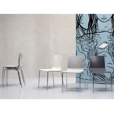 Alice chair 2675 - Modern chair in chromed metal and technopolymer, stackable, several colours