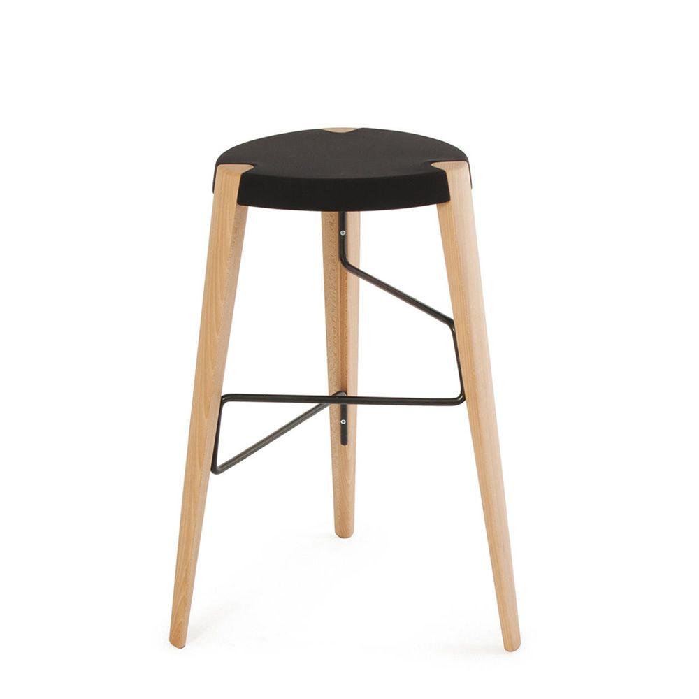 sputnik hocker aus holz und metall mit sitz aus holz oder mit gepolstertem sitz h he auf 65. Black Bedroom Furniture Sets. Home Design Ideas