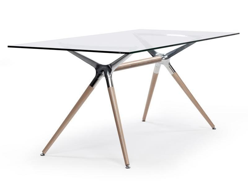 Metropolis nat 2400n tavolo in legno con piano - Tavolo con piano in vetro ...