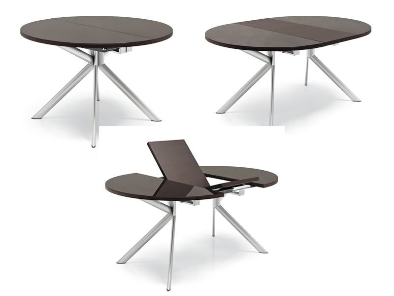 738 table ronde rallonge plaateau en verre 120 cm de for Table ronde extensible design