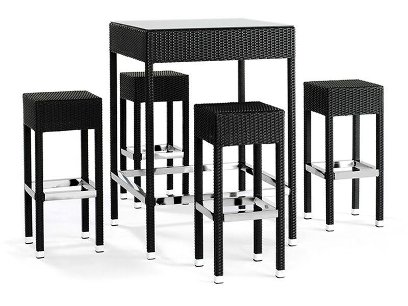 Tt920 juego de jard n en aluminio y s mil rat n con mesa - Mesa alta con taburetes ...