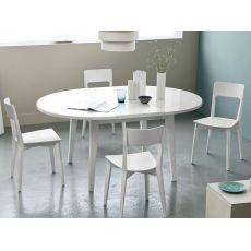 4717 - Table ronde à rallonge, plan en verre de diamètre 120 cm