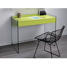 Mydesk - Writing desk in glass and laminate with drawer, several colours
