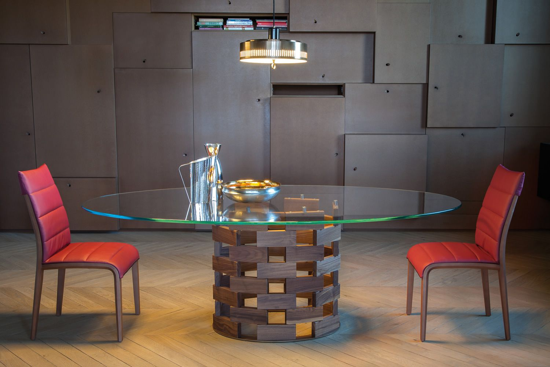 Colosseo 8076 Table fixe Tonin Casa en bois, plateau en verre, disponible en