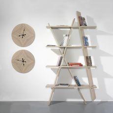 X1 Bookshelf - Libreria di design, da terra fissata a parete, in legno massello, disponibile in diverse dimensioni e colori