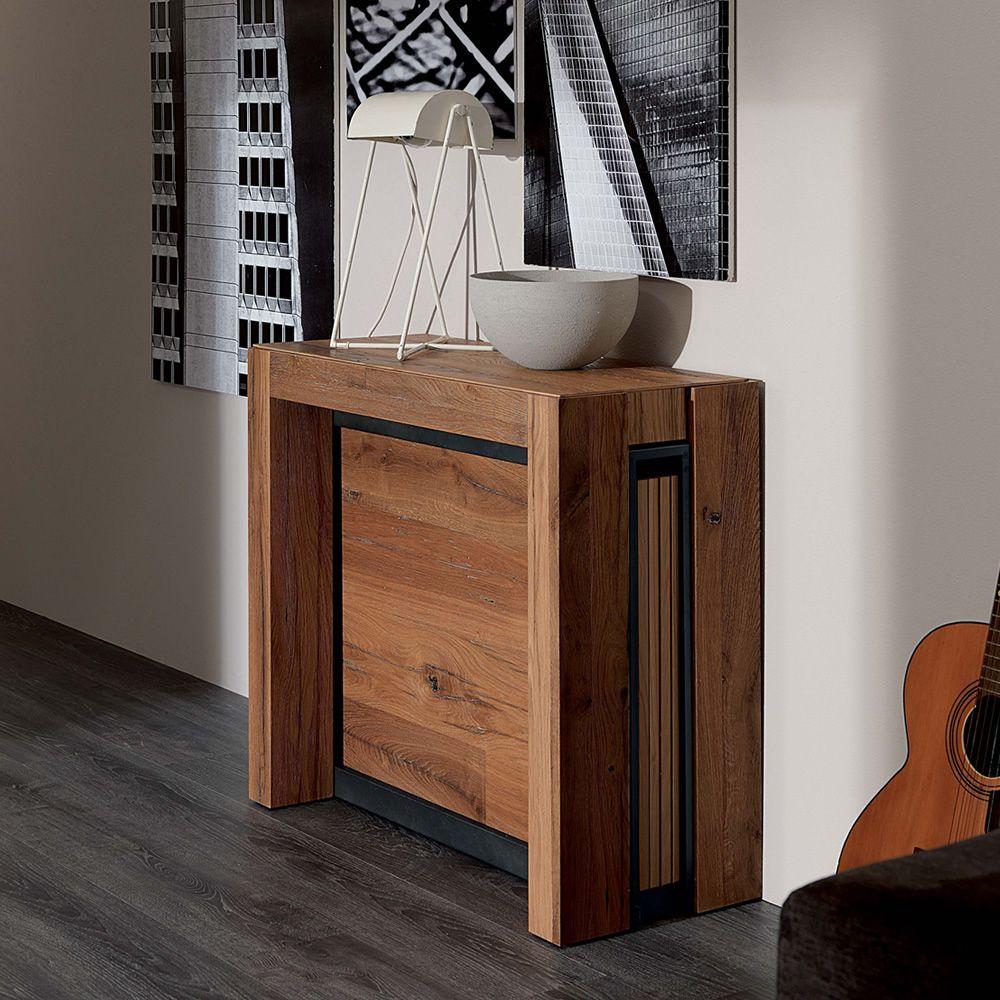 a4 console en m tal plateau en bois 85x35 cm extensible. Black Bedroom Furniture Sets. Home Design Ideas