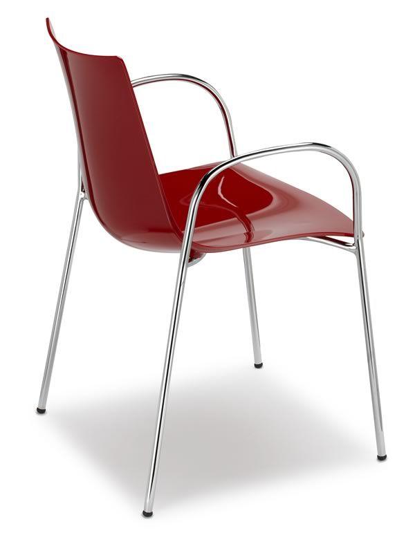 Zebra p 2605 chaise avec accoudoirs en m tal et en - Chaise de cuisine rouge ...