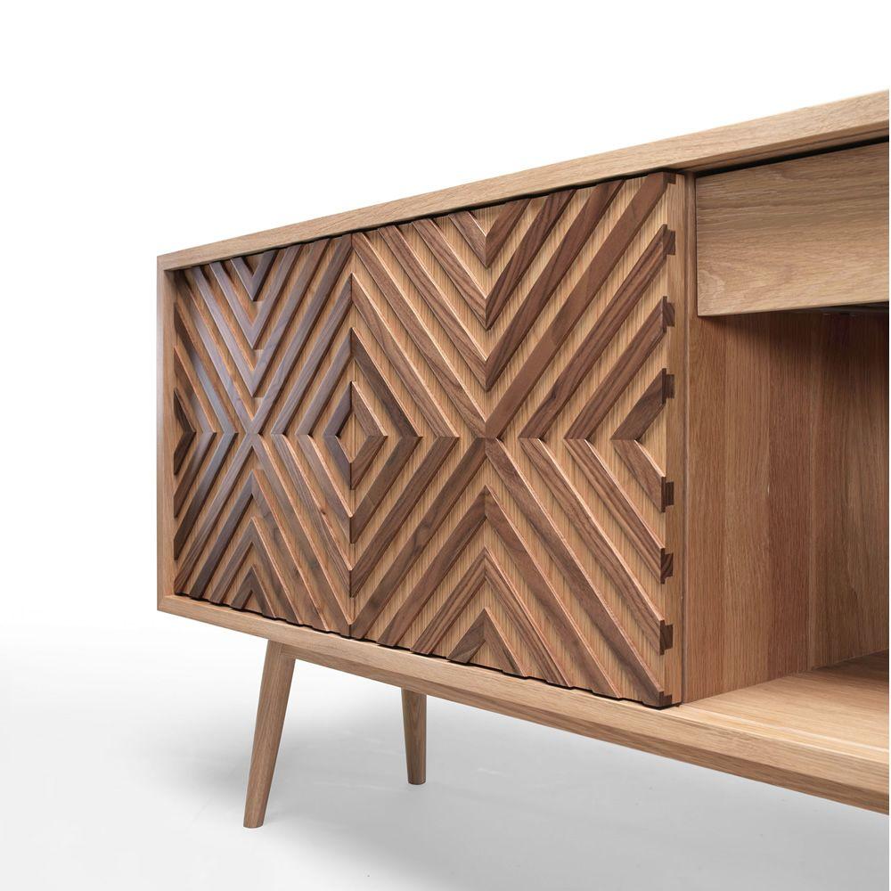 Casanova wooden sideboard with sliding doors shelves and drawers casanova sideboard in oak and walnut wood vtopaller Gallery