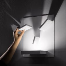 Domino - Designer wall lamp, with adjustable elements, in metal, with LED light