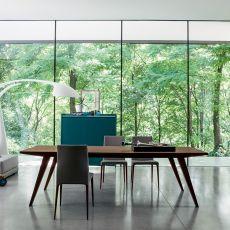 Flap - Mesa extensible Dall'Agnese en madera contrachapada, disponible en distintos acabados y medidas