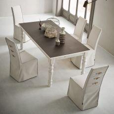 Adriano Vintage - Tavolo shabby chic in legno, 160x90 cm, fisso, piano in diversi materiali e finiture