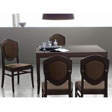 729 - Table bois à rallonge, plateau en verre 130 x 90 cm