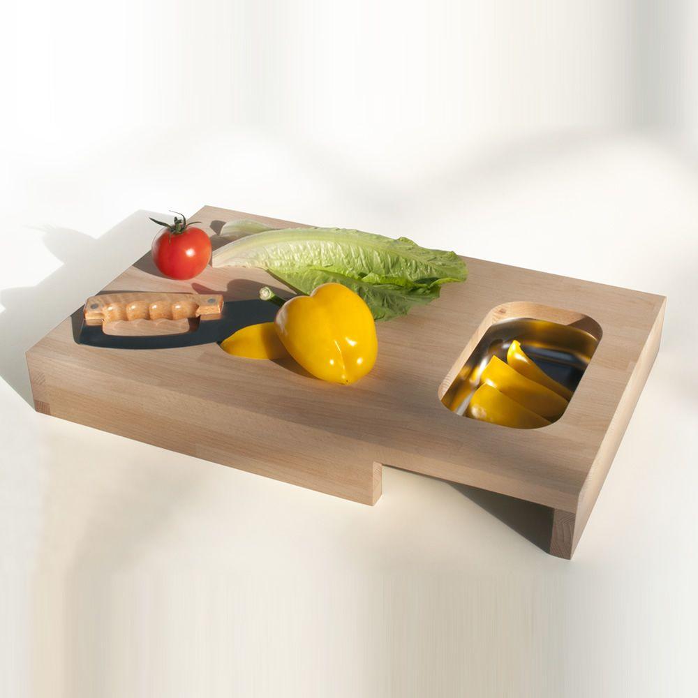 chop schneidebrett aus holz mit kleiner schale aus edelstahl sediarreda. Black Bedroom Furniture Sets. Home Design Ideas