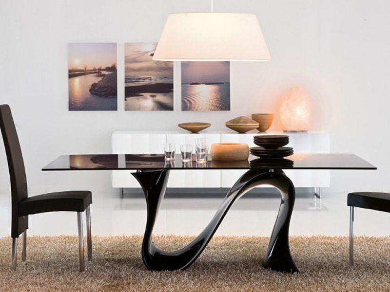 Wave 8014 tavolo fisso tonin casa in tecnopolimero con piano vetro diverse misure e finiture - Tavolo con sedie diverse ...