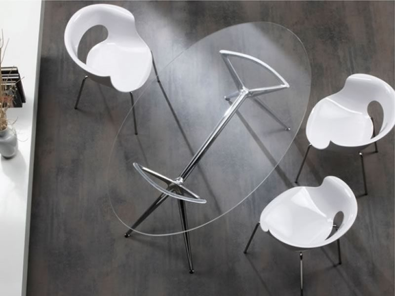 Metropolis 2400 tavolo moderno in metallo con piano for Tavolo ovale in vetro allungabile