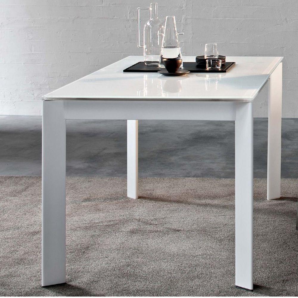 Talete tavolo di design in metallo con piano in vetro for Tavolo di design in metallo