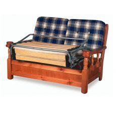 Tirolo Divano Letto - Divano letto rustico in legno con cuscini, a 2 o 3 posti