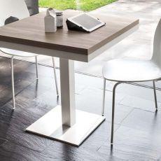 8073 Cub - Tonin Casa table, metal base, several tops, 80x80 cm extending